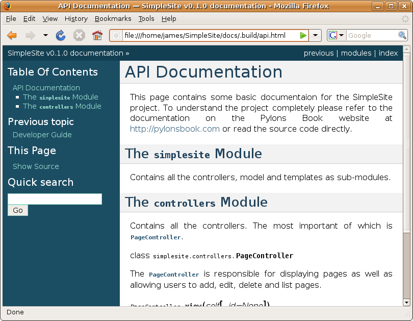 Chapter 13 documentation pylons book v1 1 documentation for Api document template